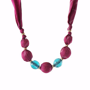 Pink fabric bead necklace
