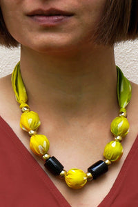 Lemonade necklace - Arati Devasher: Painted Silk Accessories - Necklace - 2