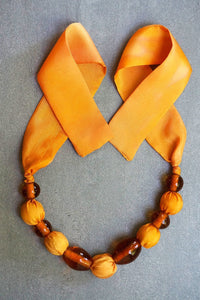 Sunrise necklace - bespoke - Arati Devasher: Painted Silk Accessories - Necklace - 2