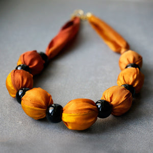 Sunset necklace - Arati Devasher: Painted Silk Accessories - Necklace - 1