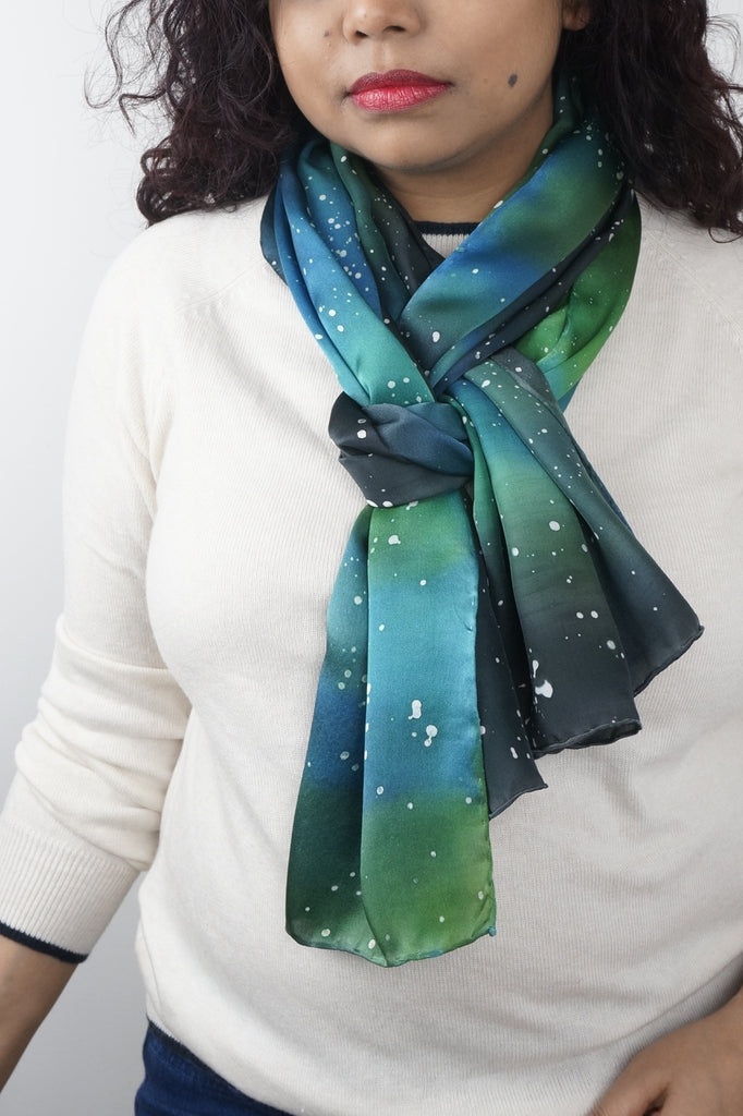 Galaxy silk scarf and tie collection - Arati Devasher, London