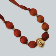 Load image into Gallery viewer, Golden brown fabric bead necklace