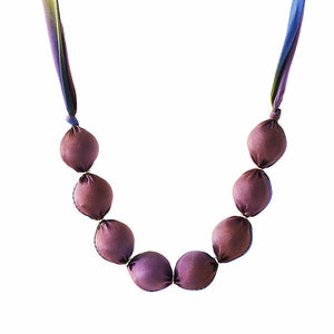 Purple and green fabric bead necklace