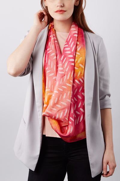 Early Rose silk scarf 90x90 - Dashing collection