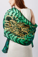 Load image into Gallery viewer, Botanical silk scarf with personalised text - made to order