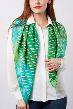 Greenery silk scarf 90x90 - Dashing collection