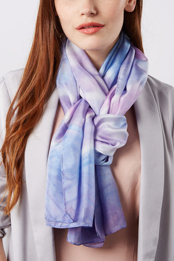 Geometric purple silk scarf 45x180 - Shibori collection