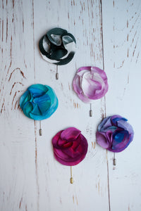 Magenta silk flower pin