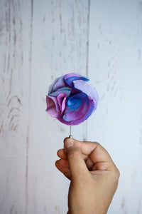 Lilac silk flower pin