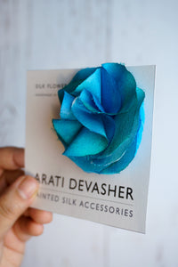 Cyan silk flower pin