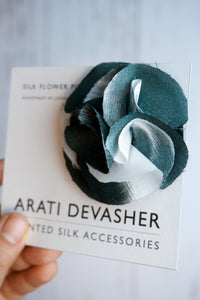 Black and White silk flower pin
