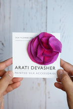 Load image into Gallery viewer, Magenta silk flower pin