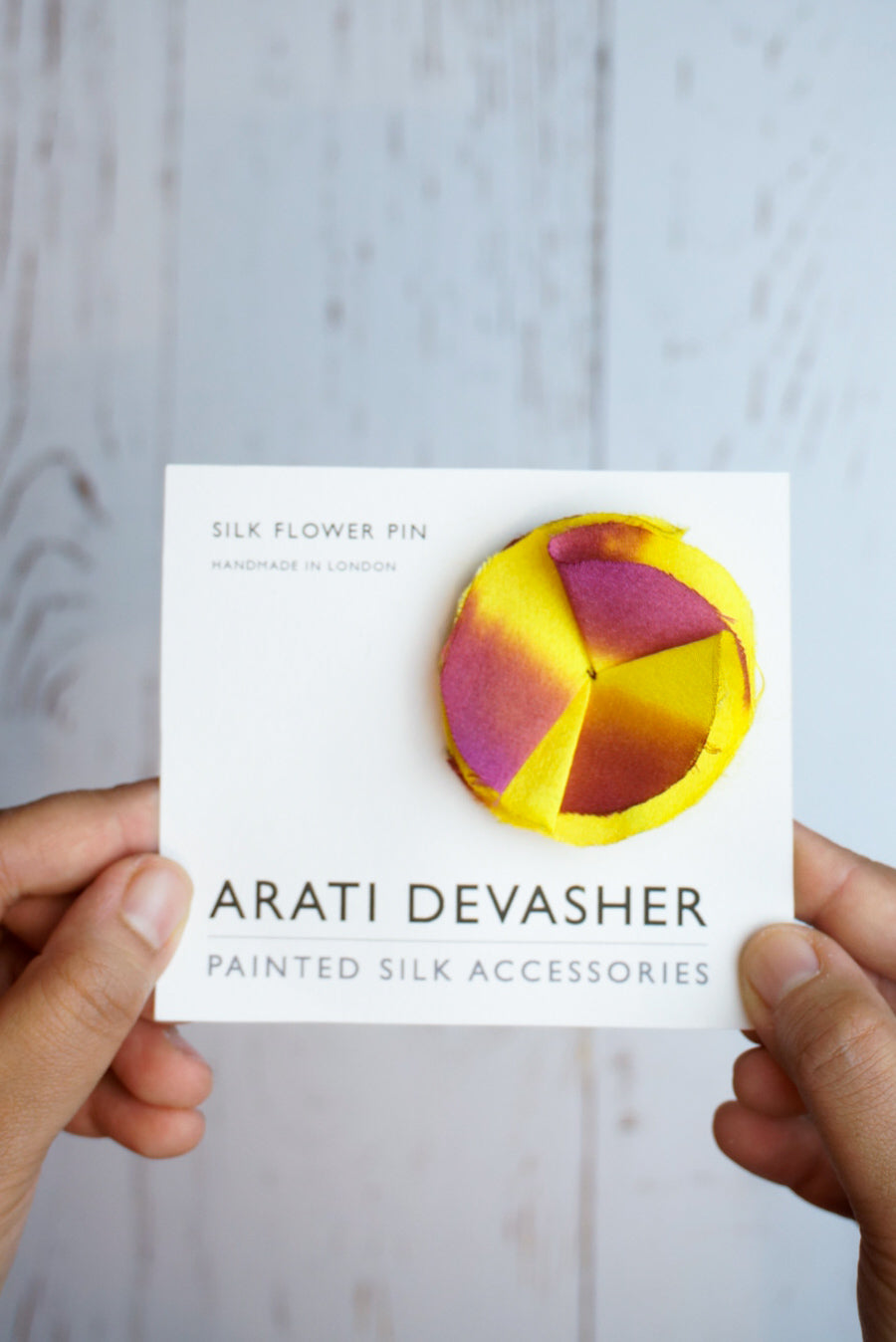 Yellow & Red silk flower pin