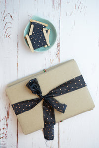 Black and copper polka dot silk ribbon