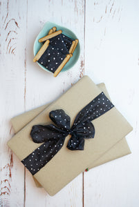 Black and silver polka dot silk ribbon