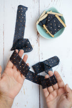 Load image into Gallery viewer, Black and copper polka dot silk ribbon