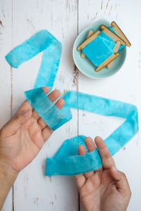 Blue silk ribbon