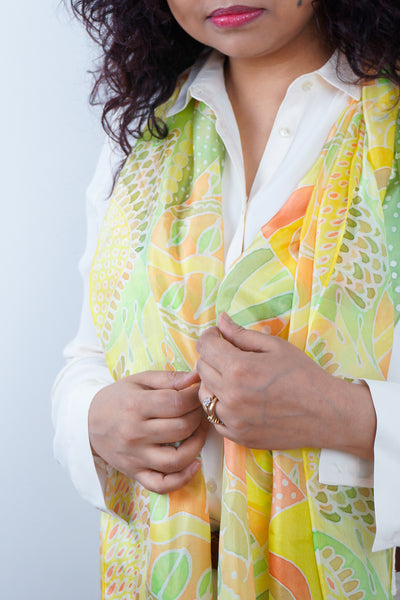 Citrus Ripples yellow silk scarf 45x180