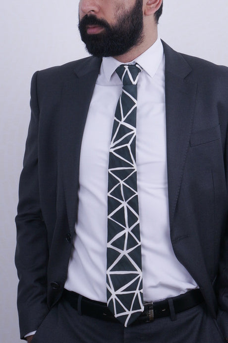 Black Angles I silk tie