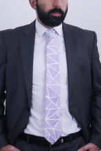 Load image into Gallery viewer, Lavender Angles silk tie