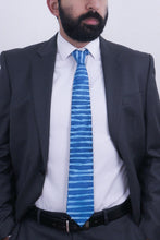 Load image into Gallery viewer, Blue striped silk tie