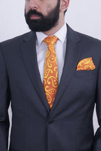Load image into Gallery viewer, Golden Paisleys II silk tie & kerchief set