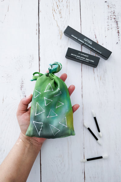 Green Triangles drawstring bag