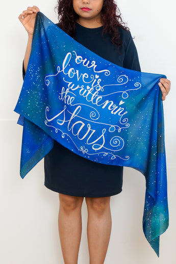 """Our Love is Written in the Stars"" galaxy silk scarf"