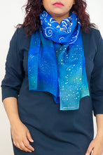 "Load image into Gallery viewer, ""Our Love is Written in the Stars"" galaxy silk scarf"