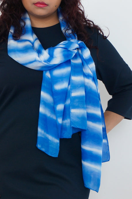 Striped blue silk scarf 45x180 - Shibori collection