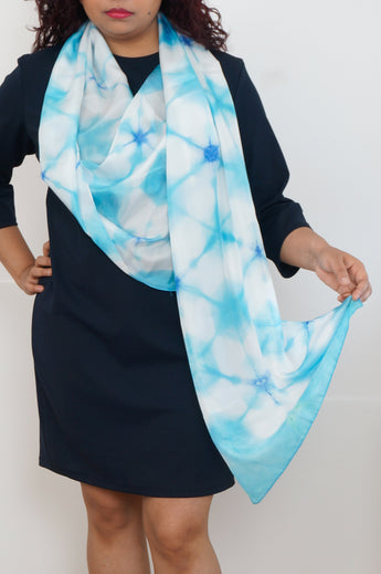 Geometric blue silk scarf