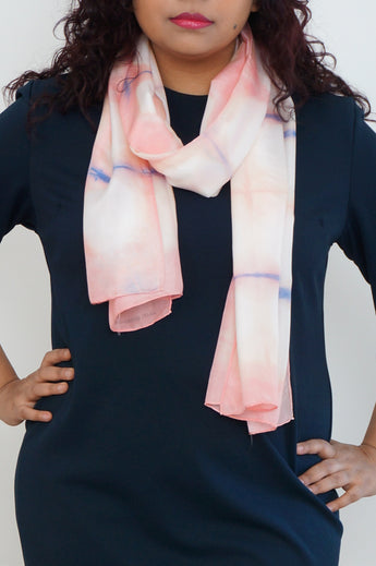 Geometric pink and blue silk scarf