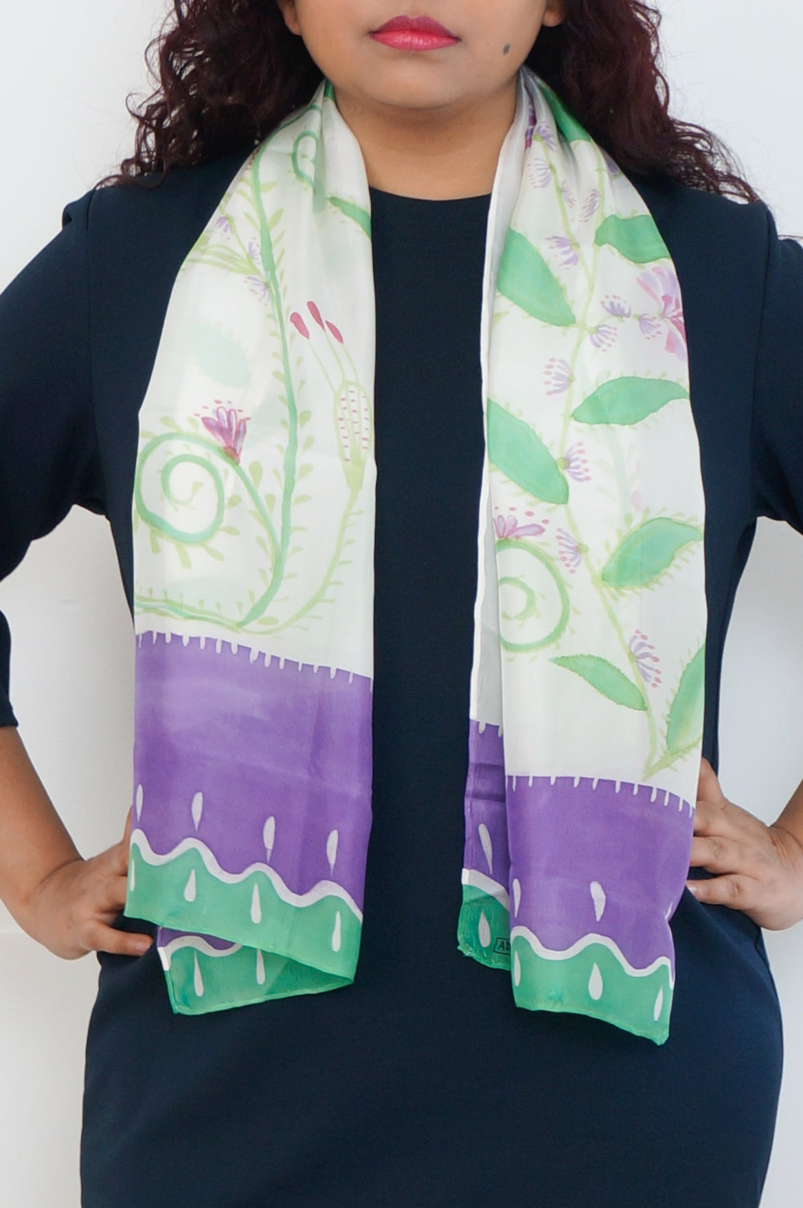 Purple Blooms silk scarf