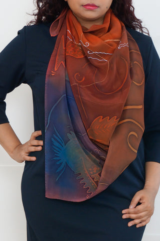 Fish the Deeps silk scarf