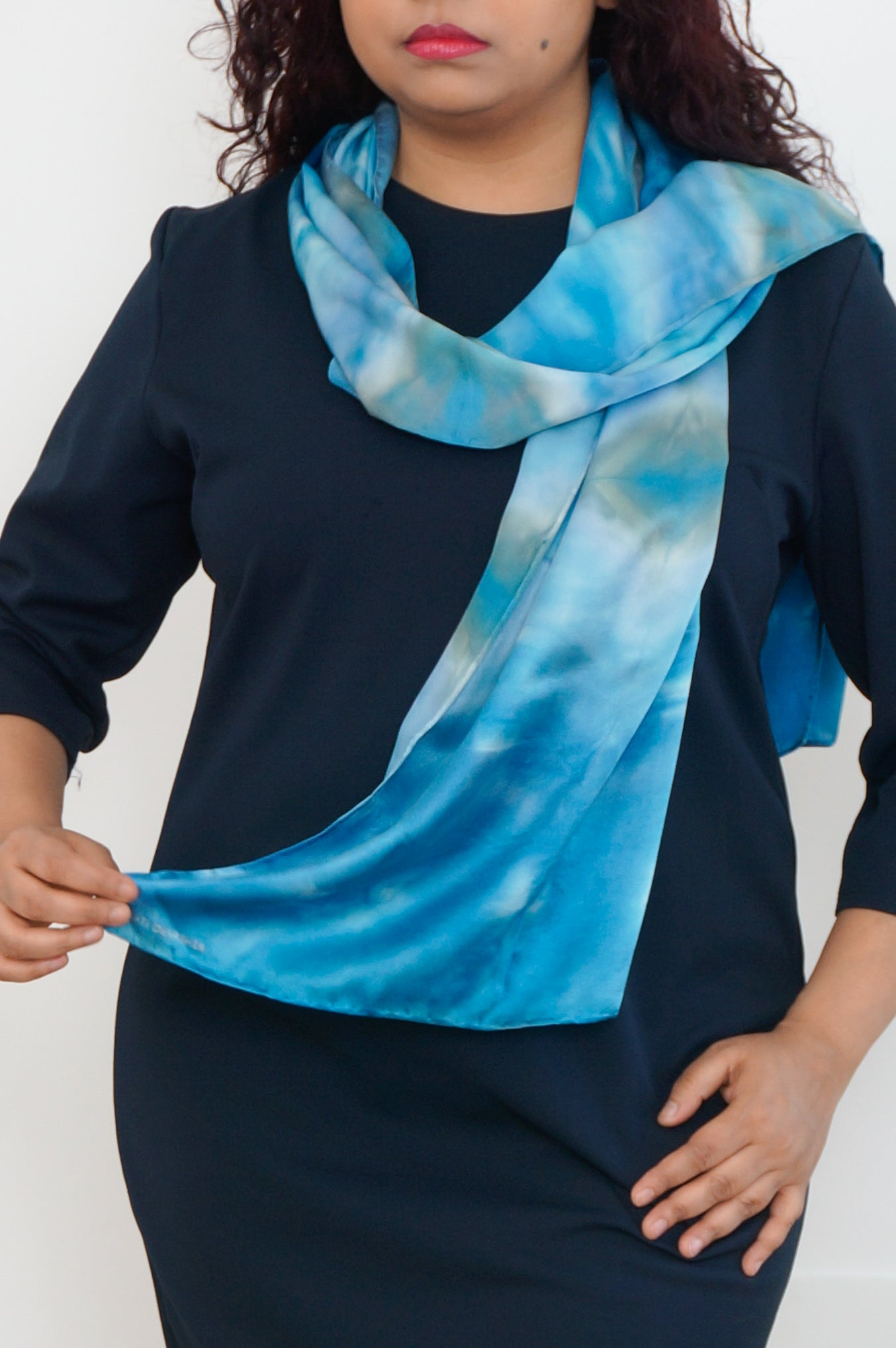 Geometric blue satin silk scarf