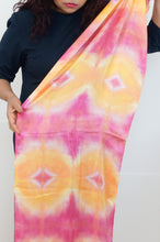Load image into Gallery viewer, Geometric pink and yellow satin scarf