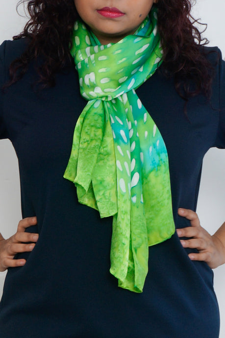 Greenery long silk scarf