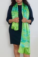 Load image into Gallery viewer, Greenery long silk scarf