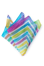 Load image into Gallery viewer, Rainbow silk pocket square 28x28