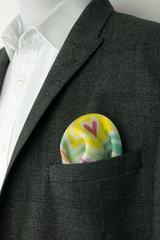 Rainbow silk pocket square 28x28