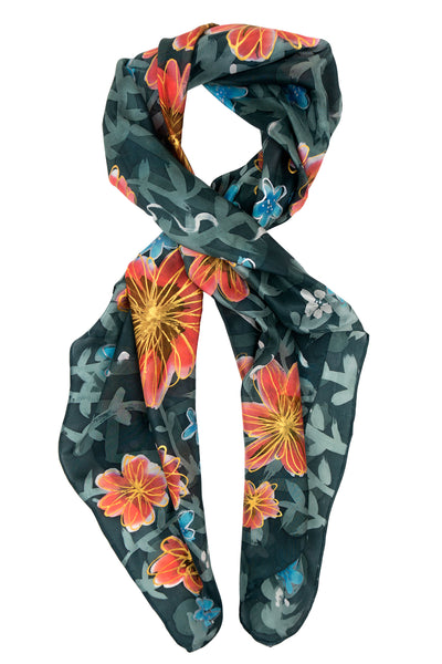 Floral square silk scarf 90x90 - Secret Garden series