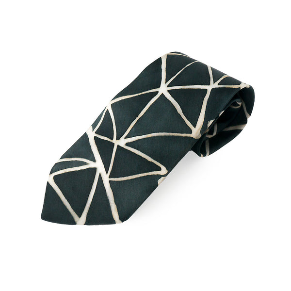 Geometric black silk tie