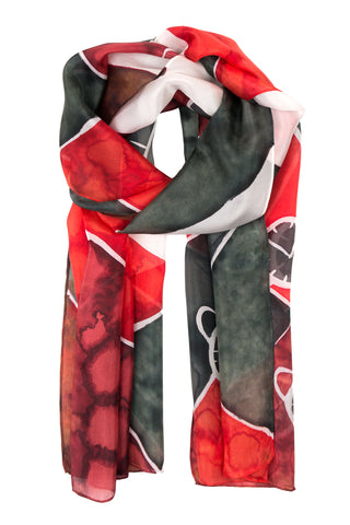 Tick Tock black white and red silk scarf 40x150