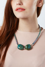Load image into Gallery viewer, Blue Motley porcelain necklace