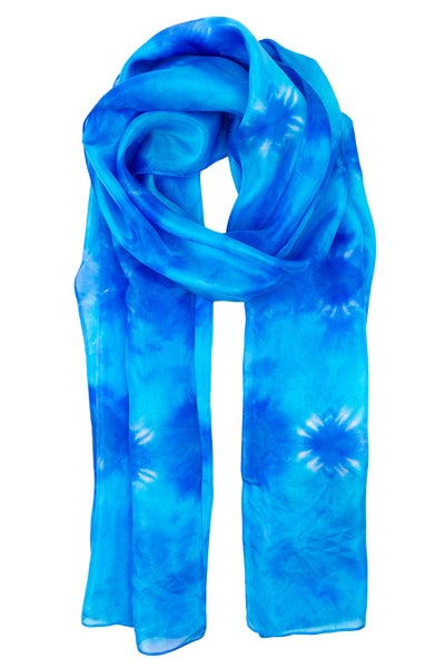 Blue silk scarf 40x150 - Shibori collection