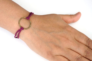 Bronze circle bracelet with silk cord - deep magenta