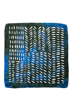 Deep Dusk black and blue silk pocket square 45x45 - Dashing collection - made to order
