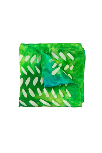 Greenery blue and green silk pocket square 28x28 - Dashing collection
