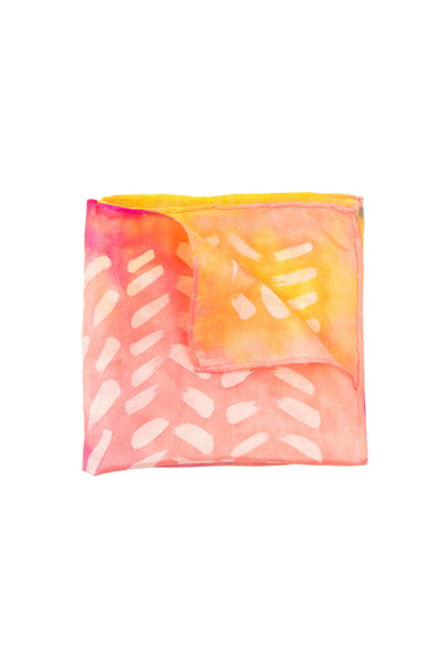 Early Rose pink and yellow pocket square 28x28 - Dashing collection - made to order