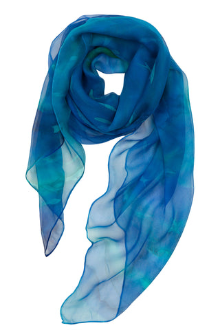 Blue fish silk chiffon scarf - Schooling Fish collection